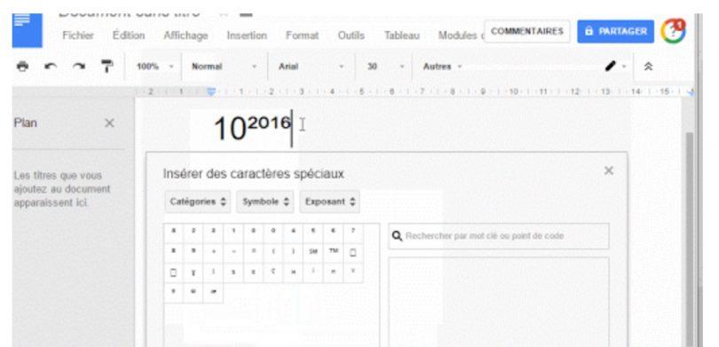 google tableur   comment mettre un exposant
