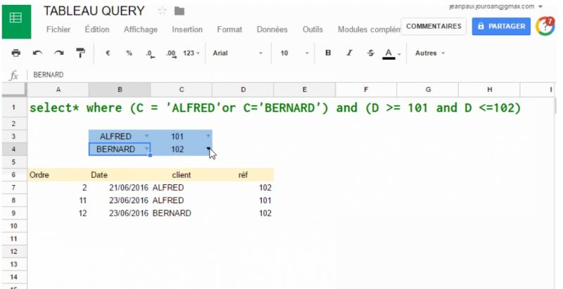Google Tableur : la fonction QUERY ! | Thierry Vanoffe
