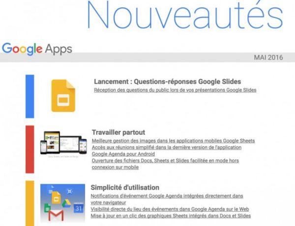"""Mise à jour du site """"What's New in Google Apps"""""""