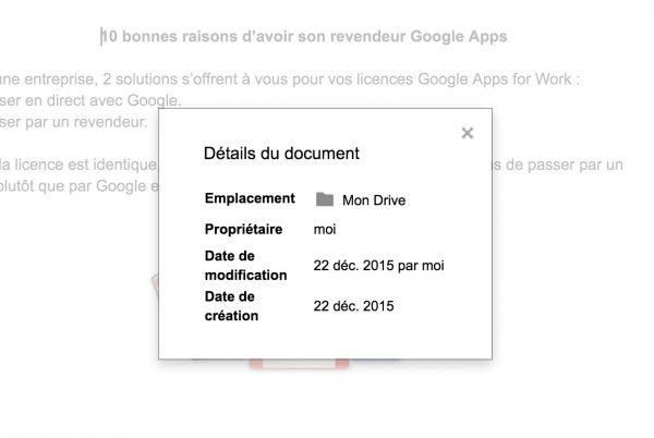 Aperçu des infos sur un fichier dans Google Docs, Sheets et Slides