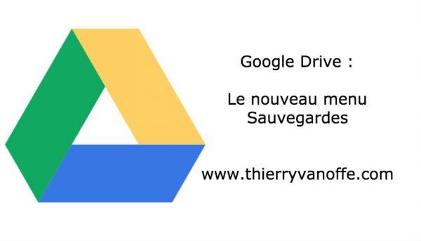 Drive : le menu sauvegardes