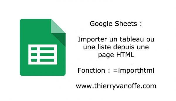 Google Sheets : la fonction Importhtml