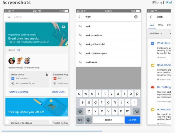 Google Cloud Search sur iOS