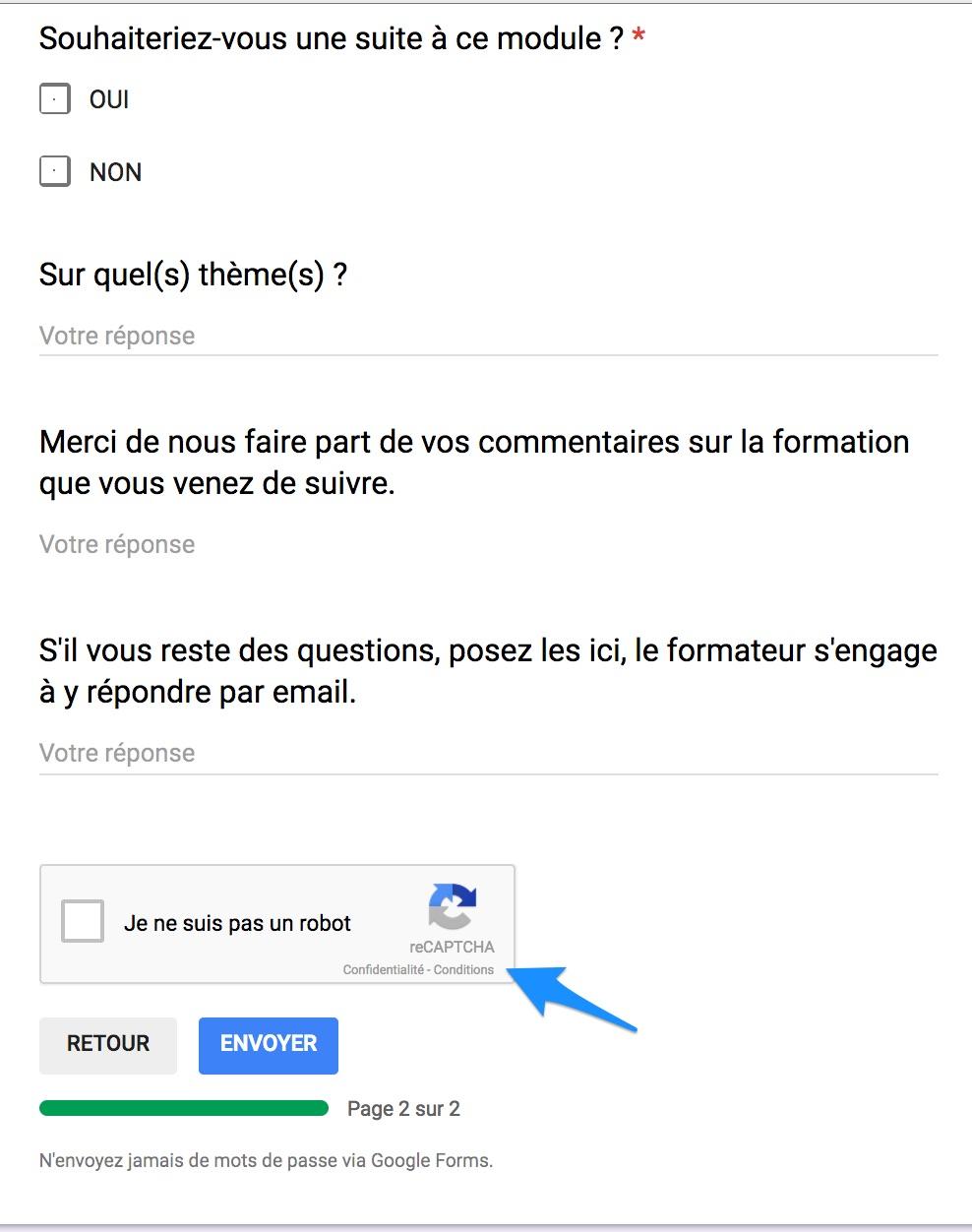Google Form : un captcha avant la validation. | Le blog de Thierry ...