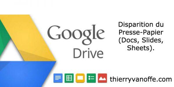 Drive : disparition du presse-papier (Docs, Slides, Sheets)