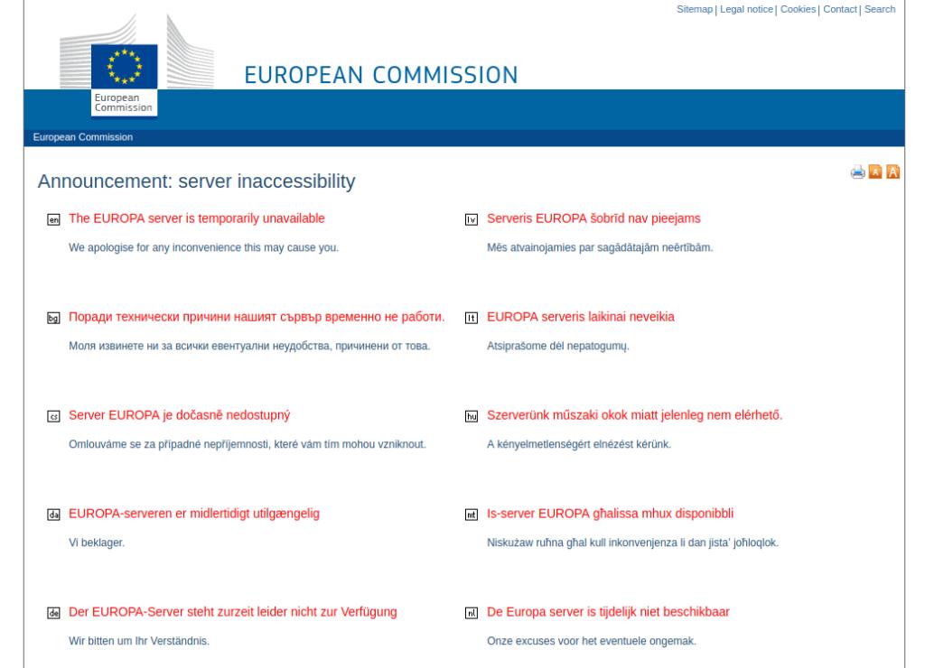 Tous les services Open Data Européens fermés