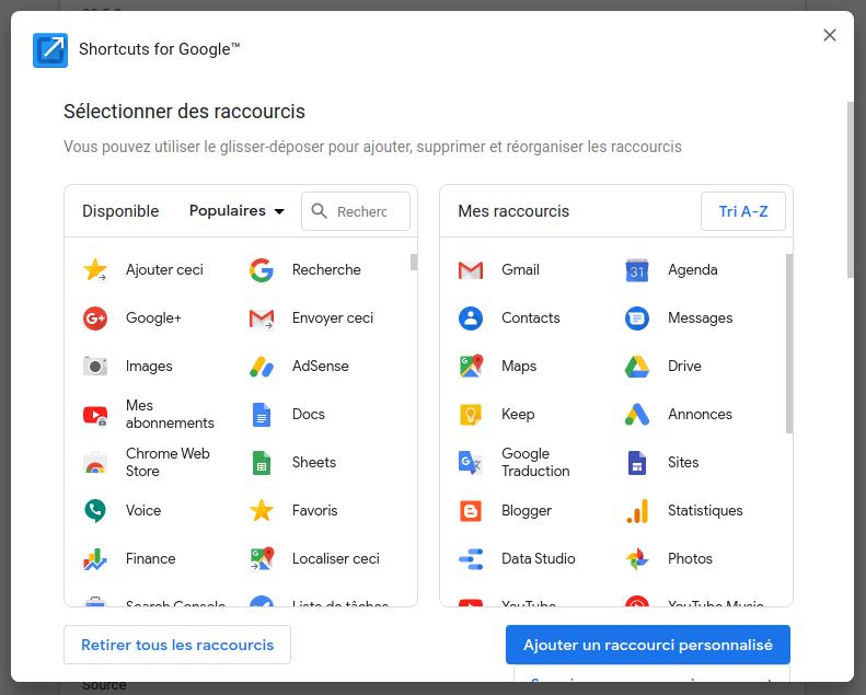 Sélection des raccourcis dans l'extension Shortcuts for Google™