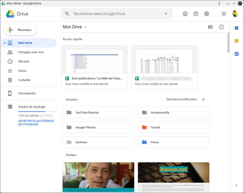 Capture d'écran : Google Drive ouvert comme une PWA