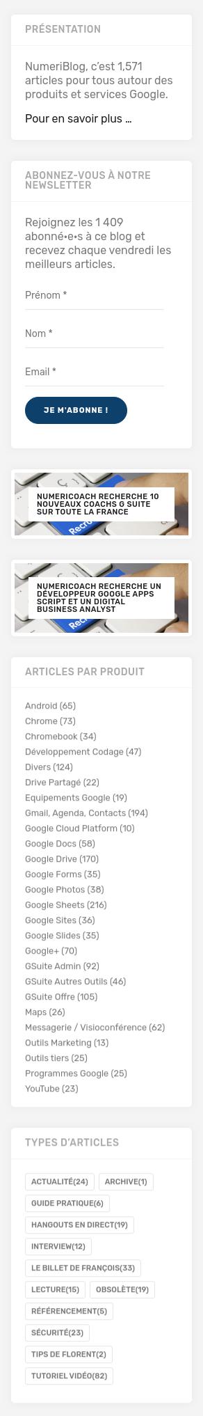 Capture d'écran du menu de droite