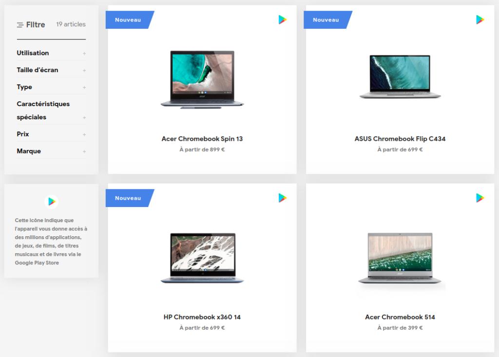 Capture de la liste filtrable des modèles disponibles
