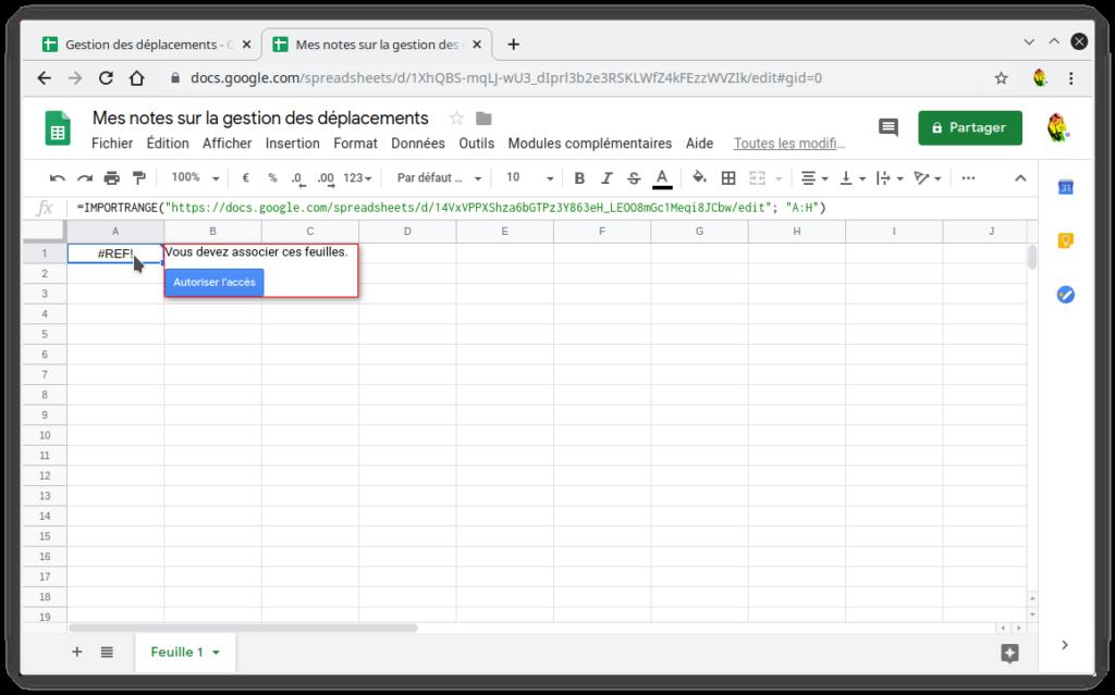 Capture de la demande d'autorisation lors de l'ajout d'un =IMPORTRANGE() dans une autre feuille de calcul
