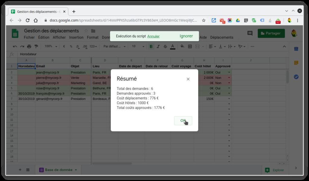 Capture d'un exemple de fonction supplémentaire ajoutée à Sheets grâce à Apps Script