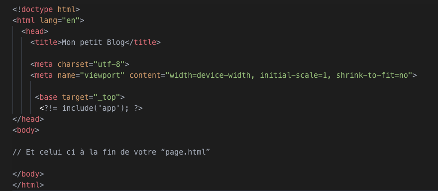 code la page Html