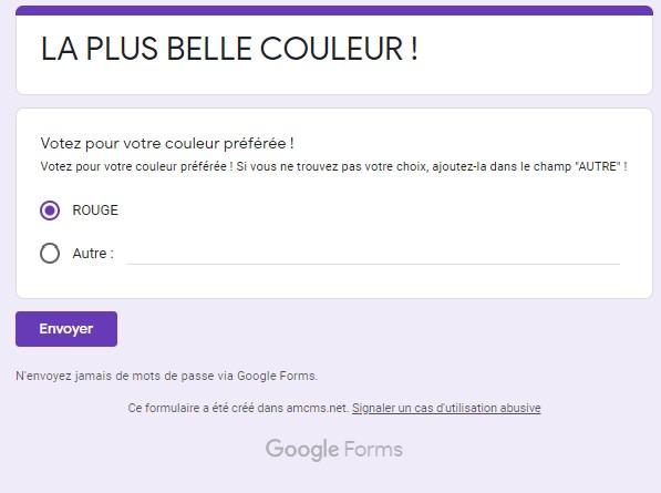 google Forms créer une question à choix multiple