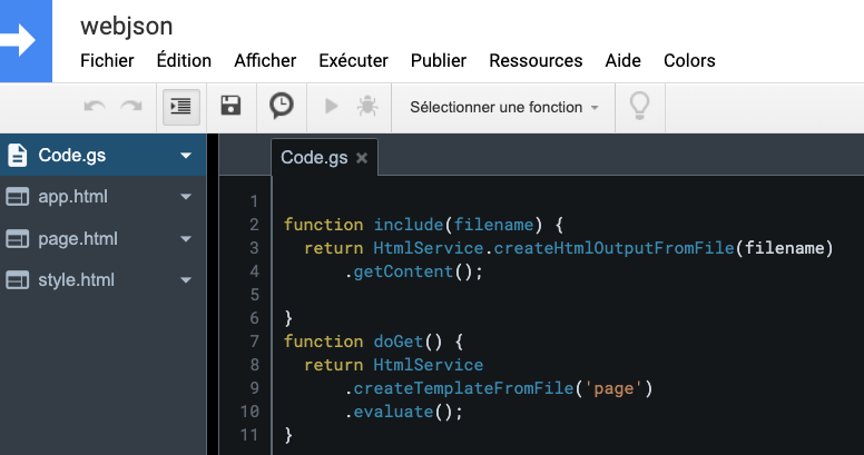 éditeur de code google scripts