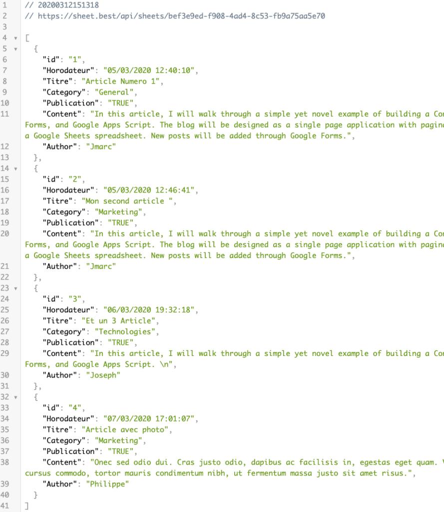 format JSON des articles