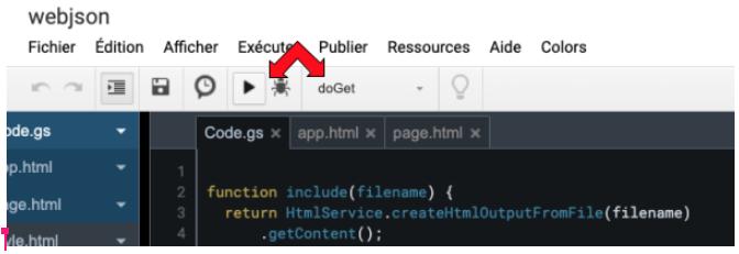 execution de la fonction avec l'éditeur google apps scripts