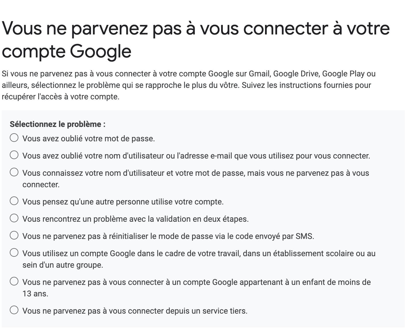 Google fenêtre récupération mot de passe