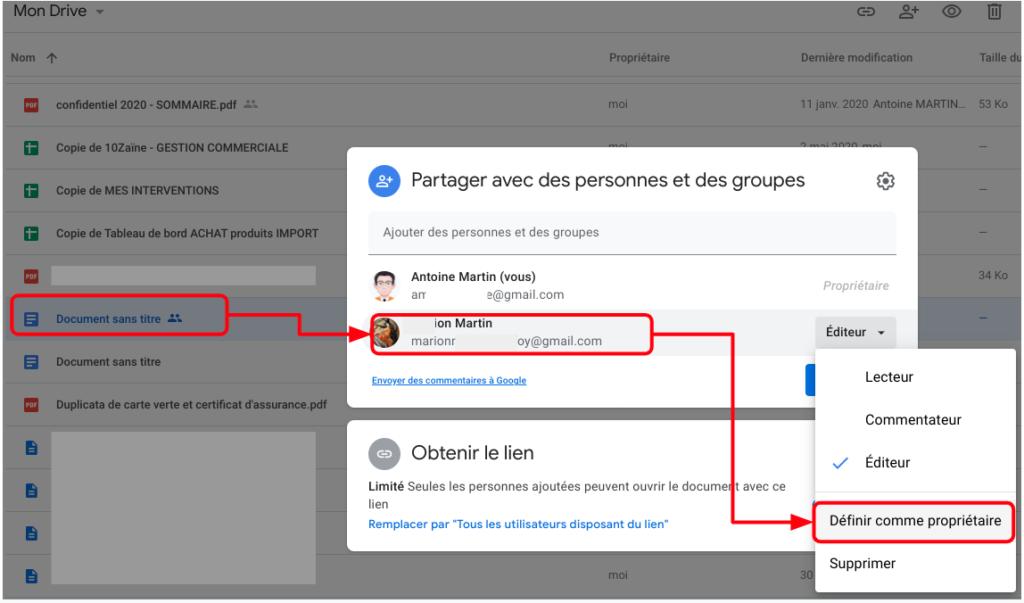 changer le propriétaire d'un fichier sous Google Drive