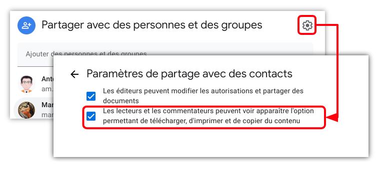 paramétrer le droit de copier un fichier